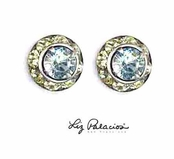 Swarovski Crystal Silver Light Azore Framed Rondell Post Earrings by Liz Palacios