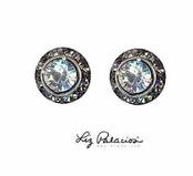 Swarovski Crystal Silver Crystal Framed Rondell Post Earrings by Liz Palacios
