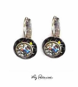 Swarovski Crystal Black Diamond Framed Rondell Leverback Earrings by Liz Palacios