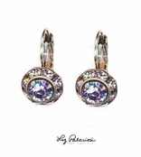 Swarovski Crystal Tanzanite Framed Rondell Leverback Earrings by Liz Palacios