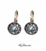 Swarovski Crystal Light Sapphire Framed Rondell Leverback Earrings by Liz Palacios