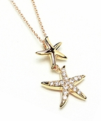 Gold CZ Double Starfish Necklace