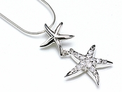 Sterling Silver CZ Double Starfish Necklace