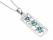 Sterling Silver Opal Inlay Triple Turtle Cut Out Pendant Necklace