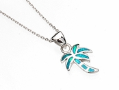 Sterling Silver Opal Inlay Mini Palm Tree Pendant Necklace