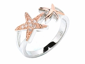 Double Starfish Sterling Silver Rose Gold Pave CZ Ring