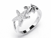 Double Starfish Sterling Silver Pave CZ Ring