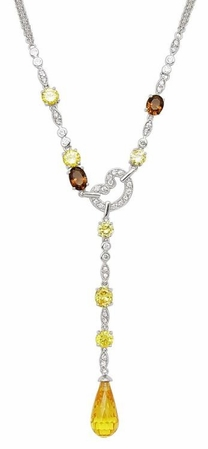Canary Multi CZ Multi Strand Line Necklace