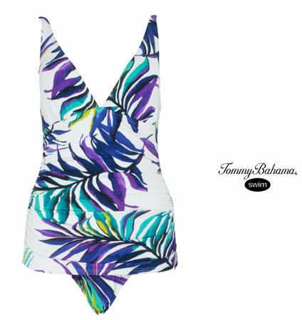 Starlight Palm Shirred Front One Piece Swim Suit by Tommy Bahama