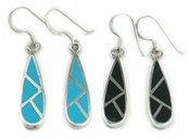 Gemstone Inlay Teardrop Earrings