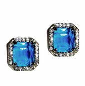 ABS Allen Schwartz Socialite Sapphire Crystal Earrings