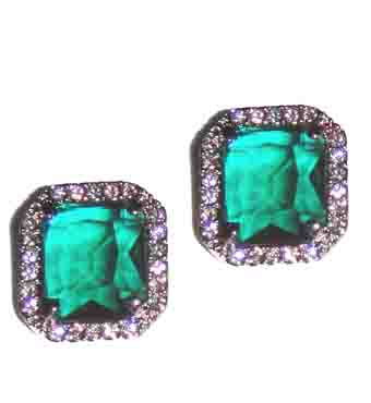 ABS Allen Schwartz Socialite Emerald Crystal Earrings
