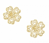 Floral Heart Figree Gold Vermeil Earrings