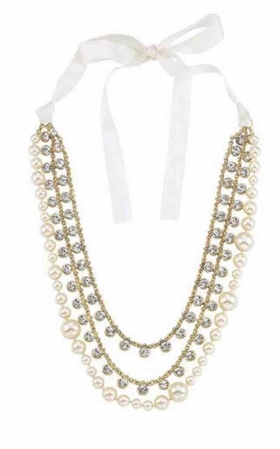 Elegance Triple Row Pearl & Crystal Necklace by Spring Street