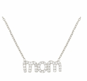 MOM CZ Sterling Silver Necklace