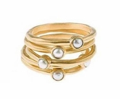 Gold Inlaid Pearl Five Ring Set by Baroni
