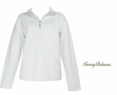 White Aruba Zip Sweatshirt with Pockets by Tommy Bahama