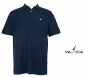 Navy Anchor Solid Pique Knit Deck Shirt by Nautica
