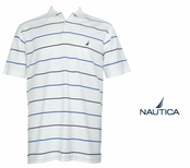 Bright White Striped Anchor Solid Pique Knit Deck Shirt by Nautica