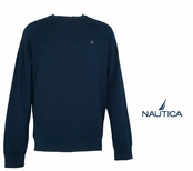 Navy Brushed Fleece Crew Neck Pullover by Nautica