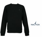 True Black Brushed Fleece Crew Neck Pullover by Nautica