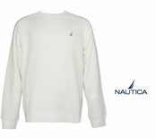 Sail White Brushed Fleece Crew Neck Pullover by Nautica