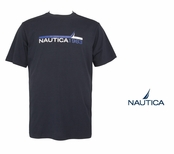 Navy N1983 Chest Stripe Logo Tee by Nautica