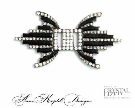 Swarovski Crystal Black & White Deco Inspired Brooch by Anne Koplik