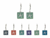 Baked Beads Starfish Enameled Drop Leverback Earrings