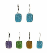 Baked Beads Enameled Owl Drop Earrings