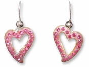 Zarah Crystal Love Pink Hearts Dangle Earrings