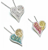 Swarovski Crystal Multi Sterling Silver Heart Necklace