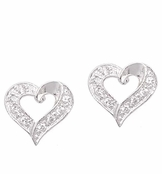 Sterling Silver Fancy Heart CZ Post Earrings