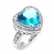 Aqua CZ Heart Solitaire Ring