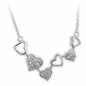 Dancing Hearts Sterling Silver CZ Necklace
