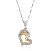 Textured Two Tone CZ Open Heart Necklace