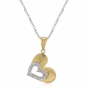 Two Tone Heart in Heart CZ Necklace
