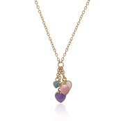 Multi Enameled Heart Charms Necklace