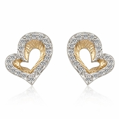 Textured Two Tone CZ Open Heart Earrings