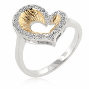 Textured Two Tone CZ Open Heart Ring