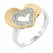 Two Tone Heart in Heart CZ Ring