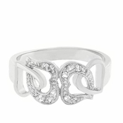 Linked Hearts CZ Band Ring