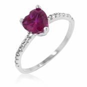 Ruby CZ Heart Ring