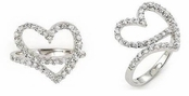 Free Form CZ Open Heart Ring