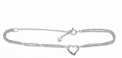 Open Heart Multi Chain Ankle Bracelet