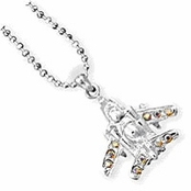 Fighter Jet 3-D Crystal Necklace