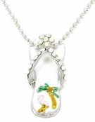 Flamingo Palm Crystal & Enamel Flip Flop Necklace
