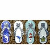 Crystal Enameled Beach Theme Flip Flop Pendant