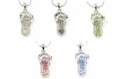 Pave'd Crystal AB Multi Flip Flop Pendant Necklace