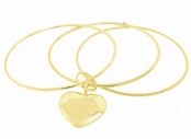 Gold Triple Bangle Heart Charm Sterling Silver Bracelet